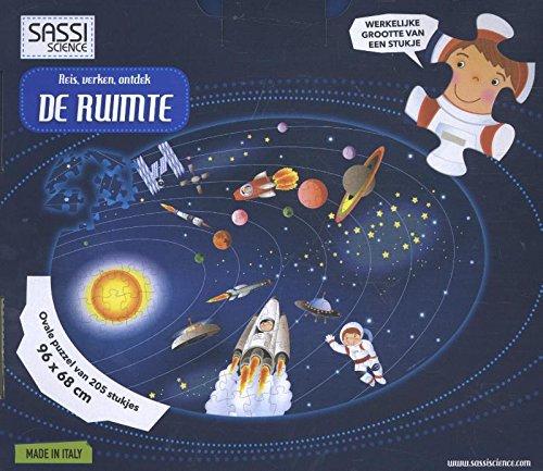 Reis, verken, ontdek DE RUIMTE: ovale puzzel van 205 stukjes en boekje