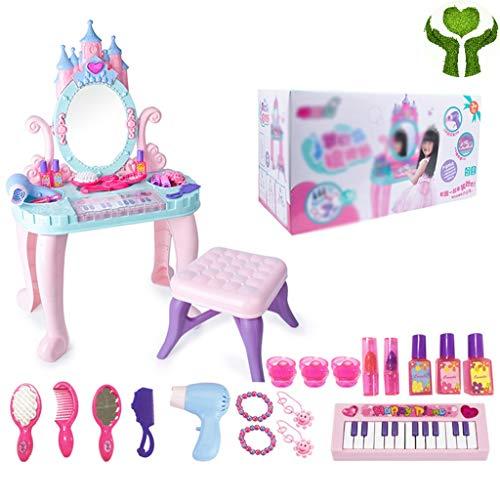 Meisje make-up speelgoed Creatieve Kaptafel In De Vorm Van Een Kind Make-upspeelgoed Voor Meisjes Simulatiepianodecoratie Met Make-up Kruk Cadeau (Color : Pink, Size : 75 * 45 * 23cm)