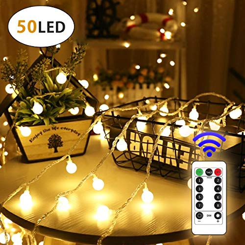 Lamantt 50 LED Globe String Lights Twinkle Lights,USB Plug 19.7ft Fairy String Lights 8 Modes with Remote Control for Outdoor/Indoor Bedroom, Christmas Tree,Garden,Wedding Decorations