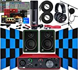 Focusrite Scarlett Solo 2x2 USB Audio Interface with Creative Music Software Kit with Mackie CR3-X Pair Studio Monitors, 24 Pack Acoustic Soundproof Studio Foam Wedges Sound Insulation Panels