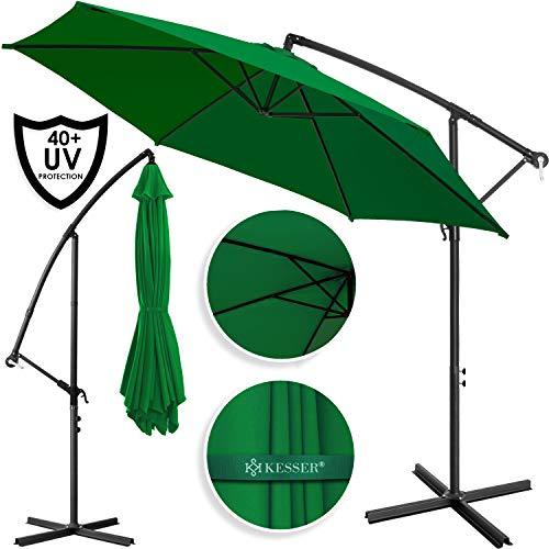 Kesser® Alu Ampelschirm Ø 350 cm mit Kurbelvorrichtung UV-Schutz Aluminium Wasserabweisende Bespannung - Sonnenschirm Schirm Gartenschirm Marktschirm Grün