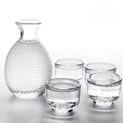 TAMUME Glas Sake Einstellen von 5 Stück, 300ml Sake Flasche und 4 Sake Tassen (Je 40ml), Weinglas Set für Warm / Kalt Sake Service, Glas Sake Set Japanisch
