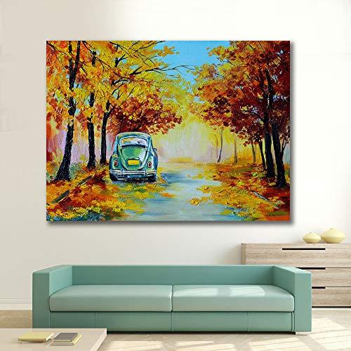 Baodanla geen lijst in de kleurrijke herfst bosweg auto woonkamer HD poster canvas landschap naar huis