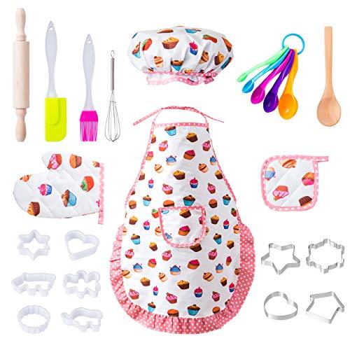 LIHAO 20 x Kochset Kinder süßes Backset Küchenspielzeug Set Zubehör Schürze mit Kochmütze Topfhandschuhe Topflappen Ausstechform als Kinderküche Geschenk (Mehrweg)