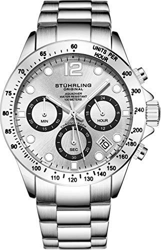 Stührling Original orologio cronografo da uomo, in acciaio INOX, con vite, corona...