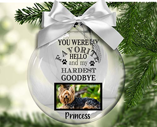 Personalized You Were My Favorite Hello. Floating Christmas ornament, dog, grieving, memorial, remembrance
