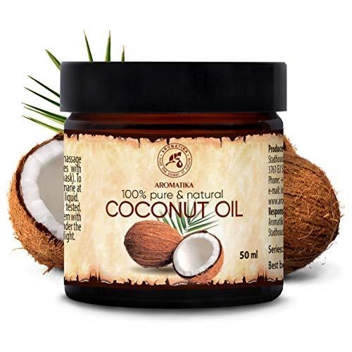 Kokosöl 50ml - Cocos Nucifera - Indonesien - Kaltgepresst - 100{70f76bfca6a6a3c901ef97255d045af86400e4596cf52693b95ac931b9fec8c8} Rein & Natürlich - Kokosnussöl - Unraffiniert - Körperbutter - Pflege für Gesicht - Haar - Körper - Coconut Oil