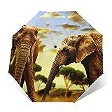 Regenschirm Taschenschirm Kompakter Falt-Regenschirm, Winddichter, Auf-Zu-Automatik, Verstärktes Dach, Ergonomischer Griff, Schirm-Tasche, Afrika Elefanten Sonnenuntergang