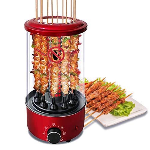 Li Bai Vertical Rotisserie Roaster Oven Smart Electric BBQ Grill Smokeless Automatic Rotating Kebab Machine Up to 300°F 1350W Includes 50 Sticks and Removable Parts