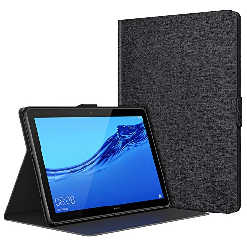 Dadanism Smart Hülle für Huawei MediaPad T5 10, PU Leder Hülle Cover Ultra Dünn Lightweight Schutzhülle mit Einstellbarem Standfunktion für Huawei MediaPad T5 10 10.1 Zoll 2018 Tablet - Denimgrau
