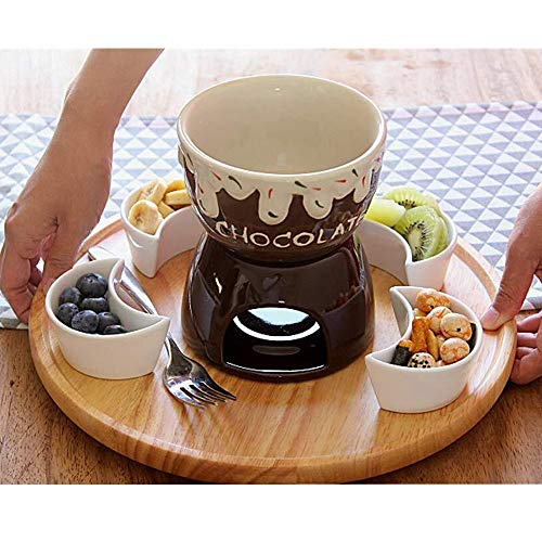 MDSQ Fondue Set Keramik Porzellan Teelicht Kerze Käse Butter Schokolade Fondue Set Käse Fondue Schokolade Fondue 2 Farbe (Color : Brown)