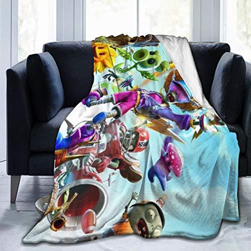 Guo Jiajun Plants Vs. Zombies Ultra-Soft Micro Fleece Blanket Anti-Pilling Flannel Sleep Comfort Super Soft Sofa Blanket Print (5040)(6050)(8060) Black 50'x40'