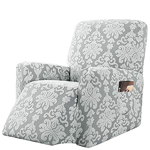 BXFUL Elasticizzato Jacquard Copridivano Coprisofà Sofa Cover Jacquard per Casa Decorativa Reclinabile Relax Completo Elasticizzato con Tasche (Grigio Chiaro)