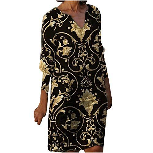 Vestido feminino meia manga gola V casual estampado para férias quentes minivestido feminino meia manga, Dourado, XXG