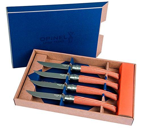 Opinel Steakmesser Tangerine, 4, rostfreier Stahl, laminierter Birkenholzgriff, Metallzwinge, Limited Edition Messer-Set, Edelstahl, Mehrfarbig, One Size, 4-Einheiten