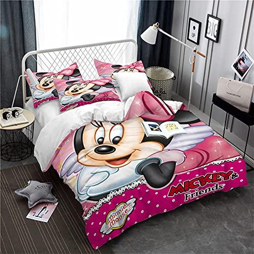 Mickey Mouse Juego De Cama 3 Piezas Funda Nordica 228X264 Cm con 2 Fundas De Almohada 50X90Cm Antialérgico Cálido Acogedor Suave Microfibre Fundas Nordicas Juveniles