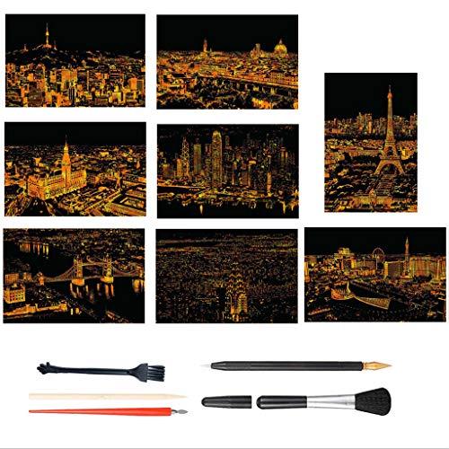 METBOM 15PCS arañazos y Papel Artes de Grabado (16' x 11.2'), Arco Iris arañazos Pintura Papel, Ciudad de Escena Nocturna de la Serie, Scratch Pintura Regalo Creativo, 8 Hojas con 7 Herramientas