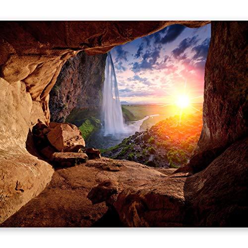 murando Fototapete Steine 400x280 cm Vlies Tapeten Wandtapete XXL Moderne Wanddeko Design Wand Dekoration Wohnzimmer Schlafzimmer Büro Flur Natur Landschaft Sonne Waterfall Höhle Grotte c-C-0151-a-a