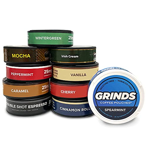 Grinds Coffee Pouches | Try Em All 10 Can Variety Pack | Tobacco & Nicotine Free | Chewing Alternative | 18 Pouches Per Can | 1 Pouch eq. 1/4 Cup of Coffee (Try Em All 10 Can Variety Pack)