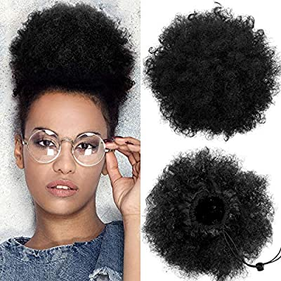 2 Pieces Afro Puff Drawstring Ponytail Synthetic Short Curly Hair Afro Bun Extension Afro Chignon Hairpieces Wig Updo Hair Extensions