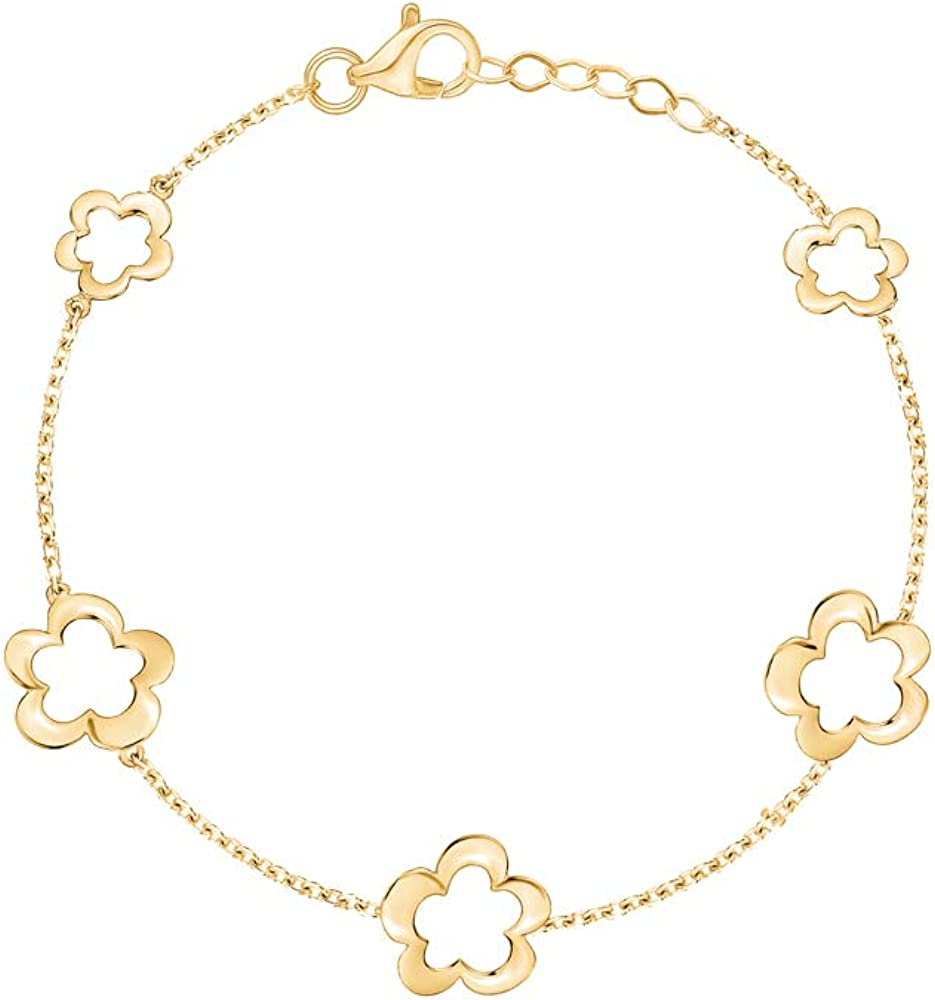 14K Yellow Gold Flower Bracelet Polished Open New popularity Max 79% OFF in Lin Large Small