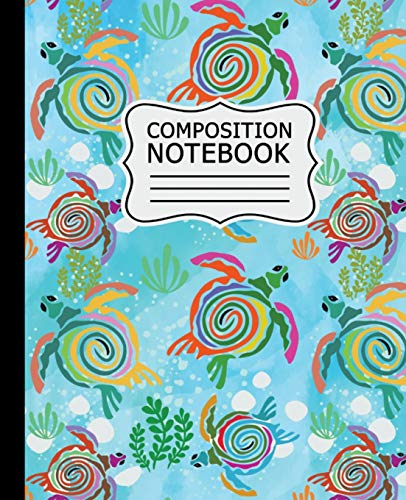 Composition Notebook: Colorful Abstract Sea Turtles on Light Blue Background - 7.5' X 9.25' 110 Pages Wide Ruled