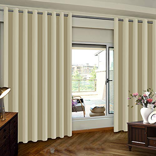 Thermal Insulated Door Blinds, White Patio Door Curtain, Extra Wide Premium Thermal Insulated Blackout Curtain Panel for Sliding Glass Door, Greyish White, 8.3ft Wide x 8ft Tall, Sold by One Panel