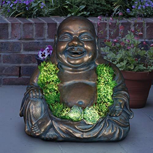 "Exhart Solar Buddha Statue w/Beautiful Green LED Succulents - Outdoor Zen & Meditation Inspired Spiritual Garden Art, UV-Treated, Weather-Resistant Meditating Buddha Statue 11""x9.5""x10.5"