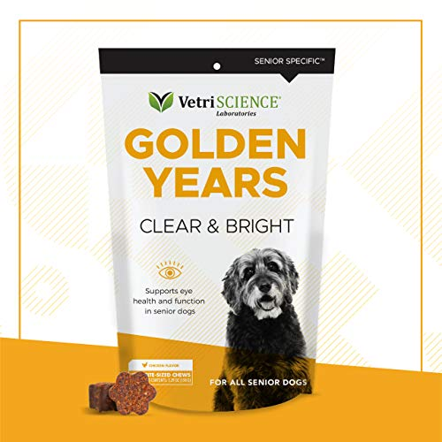 VetriScience Golden Years Clear and Bright for Senior Dogs, Chicken Liver, 60 Soft Chews - Promotes Eye Health with Powerful Antioxidants