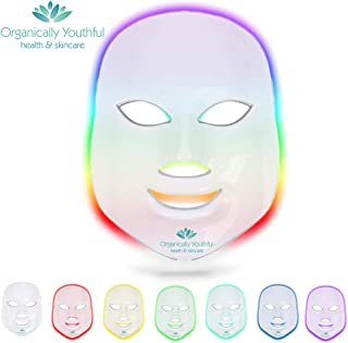 Organically Youthful 7 Color LED Face Mask | Photon Red Light Therapy For Healthy Skin Rejuvenation | Collagen, Anti Aging, Wrinkles, Scarring | Korean Skin Care, Facial Skin Care Mask
