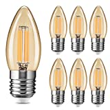 Fulighture - Bombilla LED con forma de vela (E27, 4 W, reemplaza a 40 W, 400 lm, luz blanca cálida, 2700 K, vidrio ámbar, 6 unidades)