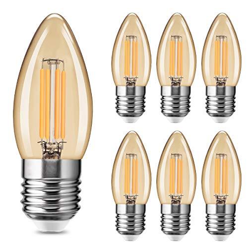 Fulighture LED Kerze Lampe,E27 LED Filament Lampe,4W Ersetzt 40W,400 LM,Warmweiss 2700K, Amber Glas, Glühbirne Vintage Ideal für Nostalgie und Retro Beleuchtung,Nicht Dimmbar 6 Stück