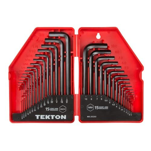 TEKTON, Set di chiavi esagonali, graduate con pollici e sistema metrico, 30 pz, 25253