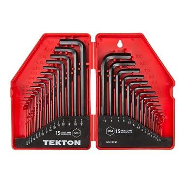 TEKTON Hex Key Wrench Set, 30-Piece (.028-3/8 in, 7-10 mm) | 25253