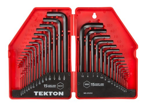 TEKTON Hex Key Wrench Set, 30-Piece (.028-3/8 inch, 0.7-10 mm) | 25253