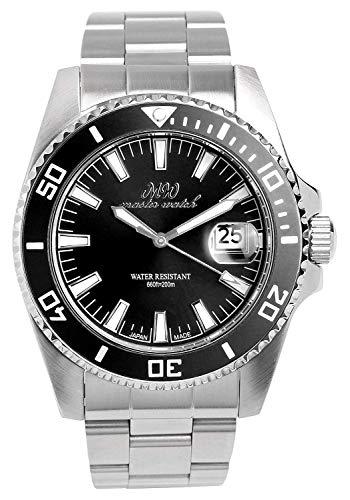 [マスターウォッチ] MASTER WATCH 日本製 ダイバーズウォッチ 20気圧防水 腕時計 回転ベゼル ブラック メンズ