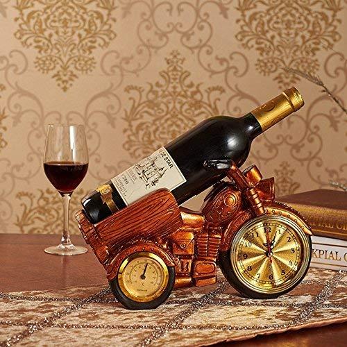 MWPO Cornice per Vino decorticata, portabottiglie di Ornamenti per Telaio Moto Motocicletta Sono portabottiglie Vino in Resina Europea Artigianato Orologio igrometro