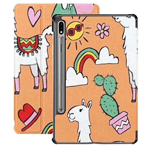 Funda para Galaxy Tab S7 Funda Delgada y Liviana con Soporte para Tableta Samsung Galaxy Tab S7 de 11 Pulgadas Sm-t870 Sm-t875 Sm-t878 2020 Release, Two Cute Cartoon Llamas Set Doodle
