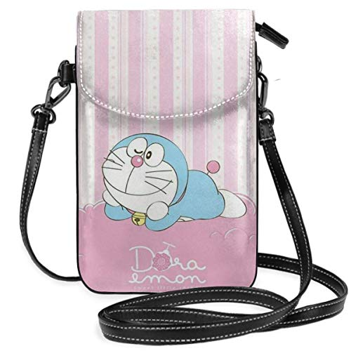 Lsjuee Womens Crossbody Bags Pink Doraemon Small Cell Phone Purse Wallet with Credit Card Slots