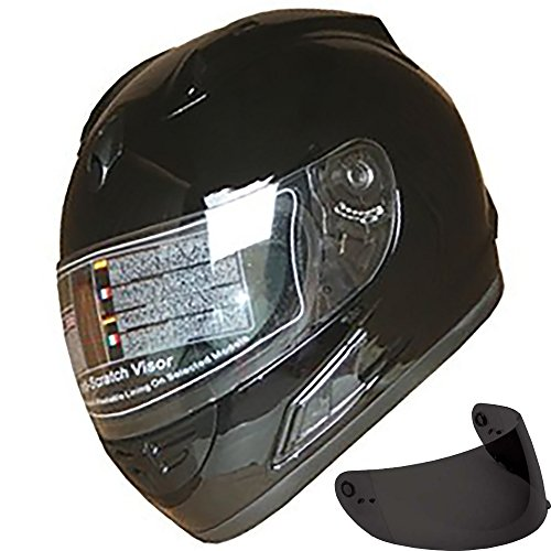 Motorcycle Street Sport Bike Helmet Full Face Helmet FF10 2 Visors Comes with Clear Shield and Free Dark Tinted Shield (Shiny Black, XL)