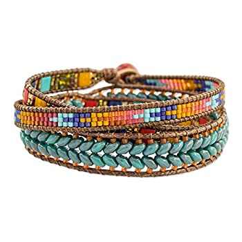 NOVICA Aventurine and Glass Blue and Red Beaded Bohemian Wrap Bracelet 22   Colors of Hope