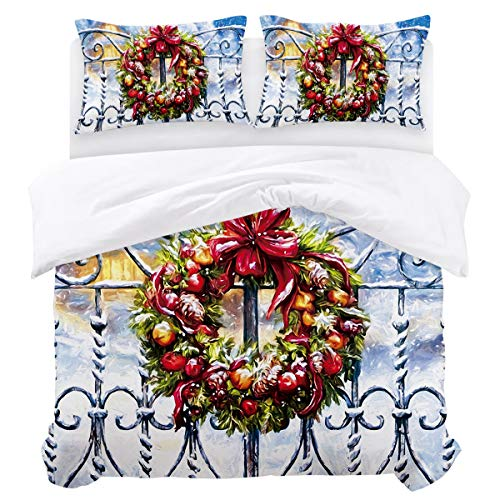 Olivefox Christmas House Garland Fence Luxury Bedding Duvet Cover Set (1 Duvet Cover + 2 Pillow Shams) with Zipper Closure and Corner Ties Soft Bedding Set for Boys/Girls Full