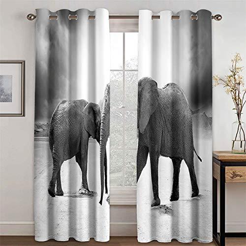 YUNSW Cortinas Planas De Elefante 3D, Cortinas De Sombreado Y Reducción De Ruido para Sala De Estar, Dormitorio, Sala De Estudio, Juego De 2 (Total Width) 280x(Height) 260cm