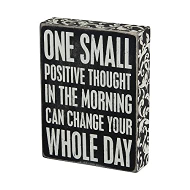 Primitives by Kathy 22675 Floral Trimmed Box Sign, 6  x 8 , Positive Thought