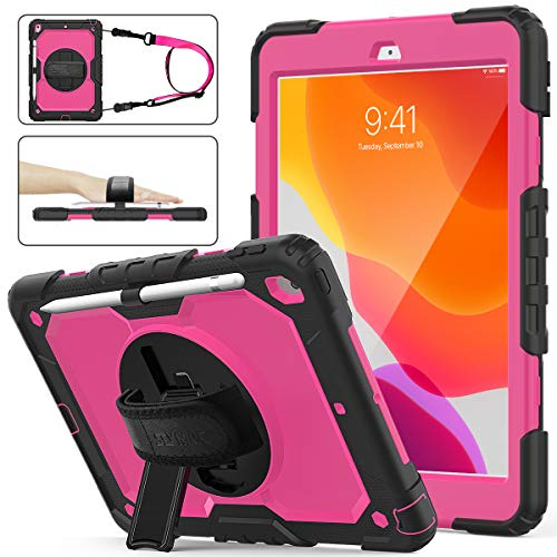 iPad 7th Generation Case,iPad 10.2 2019 Case, SEYMAC Stock [Full-Body] Drop Proof Hybrid Armor Case with 360 Rotating Stand [Pencil Holder][Screen Protector] Hand Strap for iPad 7th (Rose+Black)