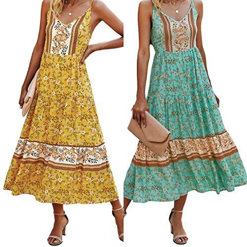 BIUDUI Vestido de la Eslinga de Verano de Verano de Verano, señoras de Verano de Moda con Estampado de Cuello en V