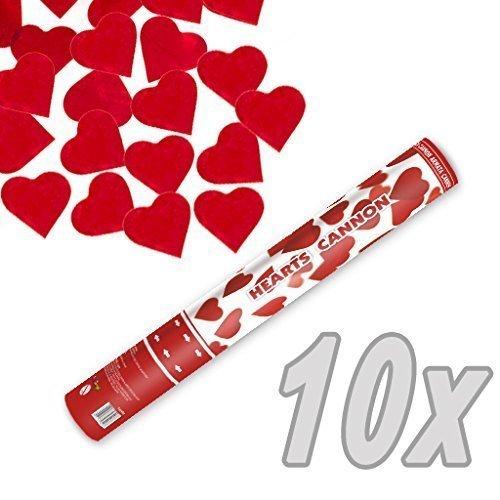 Herz Konfetti Shooter 40 cm XXL ! Popper Kanone Konfettikanone rote Herzen - 10 Stück