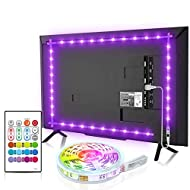 【Upgraded Remote】 TV backlight 2.5m comes with 4096 DIY colors, 8 levels of brightness can increase ambient light to reduce the contrast the brightness between the TV and dark environment and relieves the eye strain. 6 dynamic flashing mode provides ...