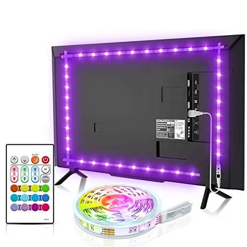 Led TV Hintergrundbeleuchtung, BASON USB LED Streifen 2.5m/8.2ft für 32-58 Zoll, DIY RGB Led Strip Led Beleuchtung mit Fernbedienung für Fernseher PC Cinema Dekoration