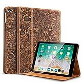 para iPad Air1 9,7 Pulgadas Funda De Cuero De Vaca, Cubierta De Folio De Cuero De Vaca, Cubierta De Cuero Genuino, Cobertura Magnética Delgénico, Cubierta De Sueño con Microfibra, Brown 2